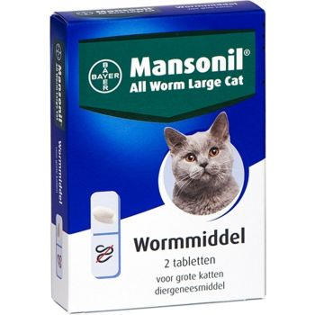 Mansonil All Worm Large Cat Ontworming - Grote Kat - 2 tabletten